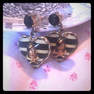 Betsey Johnson nautical skull heart earrings